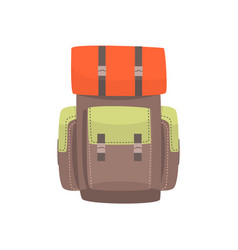 Tourist hiking backpack with camping mat vector