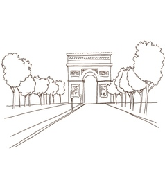 Triumphal arch hand drawn Paris vector