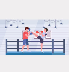Two boxers training kick boxing exercises fighters vector