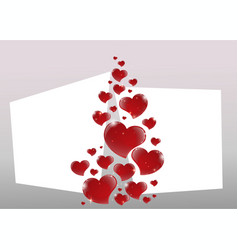 valentines day card with mirrored shiny red vector image