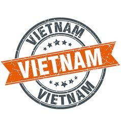 Vietnam red round grunge vintage ribbon stamp vector