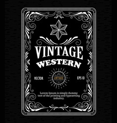 Vintage frame border western label retro hand vector
