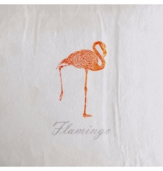 vintage of a pink flamingo on the old wrinkled vector image