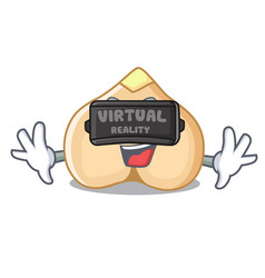 virtual reality chickpeas mascot cartoon style vector image