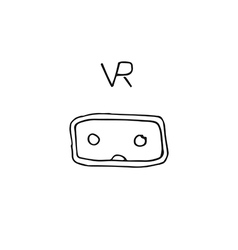 VR technology glasses hand drawn style icon vector image