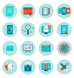 Web development and digital marketing icons vector