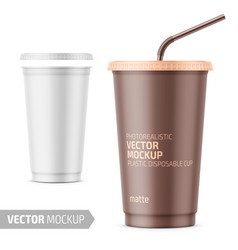 White disposable plastic cup with lid and straw vector