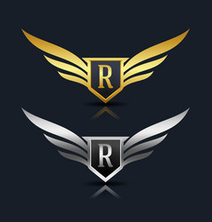 Wings shield letter r logo template vector