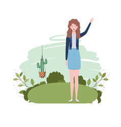 Woman with macrame hangers and background vector