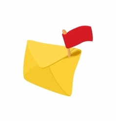 Yellow envelope and red flag icon cartoon style vector image