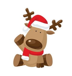 Christmas reindeer with a raised right hoof vector