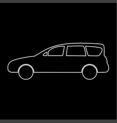 family car white color path icon vector image vector image