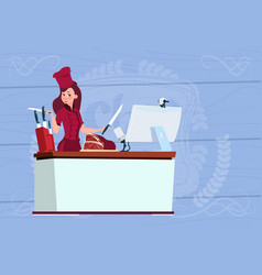 female chef cooking in front of web camera on vector image vector image
