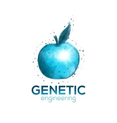 Genetic engineering logo template with blue apple vector