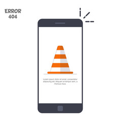 mobile phone with a picture of a construction cone vector image