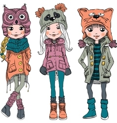 set cute girls in funny hats vector image vector image