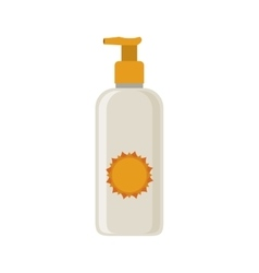 silhouette with small bottle of sunscreen vector image