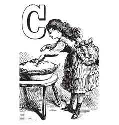 alphabet c cut it vintage vector image