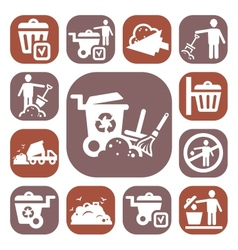 color garbage icons set vector image