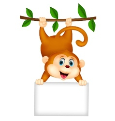 Cute monkey cartoon with blank sign vector image