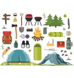 hiking camping equipment campfire base camp vector image vector image
