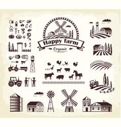 set of happy farm organic production cartoon style vector image
