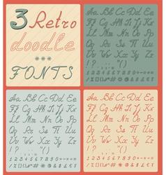 Set of three retro doodle fonts vector image