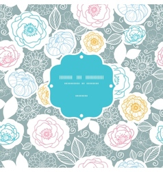 Silver and colors florals frame seamless pattern vector image vector image