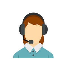 call center operator with phone headset icon vector image