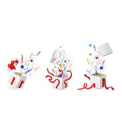 cartoon open present gift box ribbon bow vector image