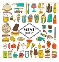Collection of hand drawn food menu Simple sketches vector image vector image