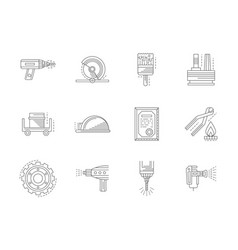metal processing flat line icons set vector image vector image