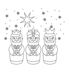 outlined three magic kings bring presents to jesus vector image