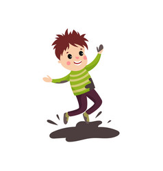 overactive kid in soiled sweater and pants jumping vector image