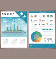 smart city brochure with infographic elements vector image