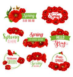 spring flower wreath icon for springtime design vector image vector image