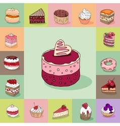 Template with different kinds of delicious vector image vector image