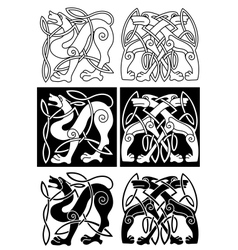 Wolves and dogs in celtic ornament vector image vector image
