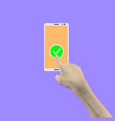 a man hand presses a finger on phone screen vector image