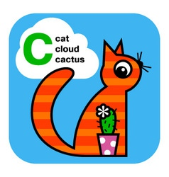 Abc cat cactus cloud vector
