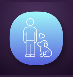 animals welfare and help app icon pup and master vector image