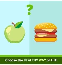 Apple or Burger Food Design Flat vector
