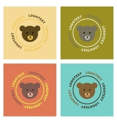 Assembly flat icons nature bear logo vector