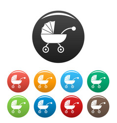 Baby carriage icons set color vector