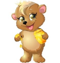 Bear eats honey vector