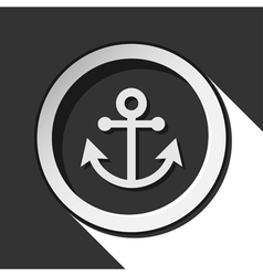 Black and white round with anchor icon vector