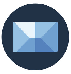 Blue flat icon message envelope object vector
