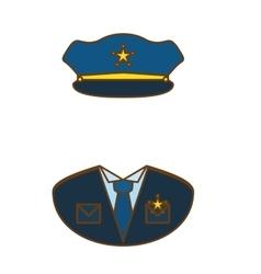 Blue police uniform icon image vector