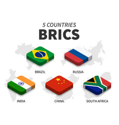 Brics flag association of 5 countries and map vector