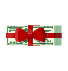 Bundle dollars with tied red ribbon and bow vector